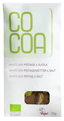 COCOA White Bar Pistaasi& suola 50g - Luomusuklaat - 5902565210250 - 1