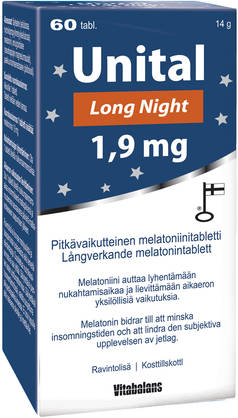UNITAL Long Night 1,9mg 60tbl - Mieliala, stressi ja uni - 6410530035184 - 1