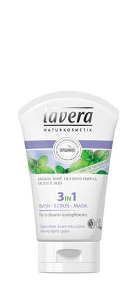 Lavera 3 In1 Wash, Scrub, Mask, 125ml - Kuorinta ja naamiot - 4021457617036 - 2